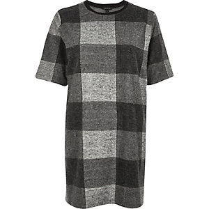 Grey check oversized t-shirt