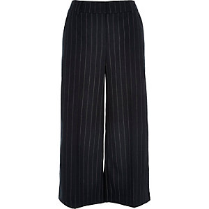 Navy stripe smart belted culottes