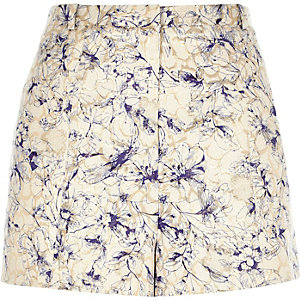 Cream print jacquard high waisted shorts