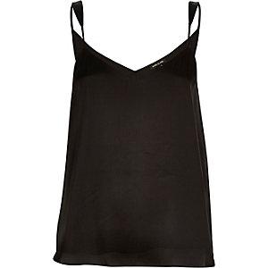 Black silky V-neck cami