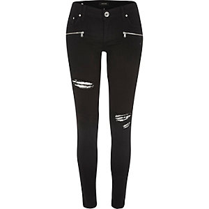 Black rip low rise Amelie superskinny jeans