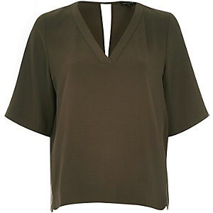 Khaki V-neck top