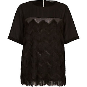 Black tassel fringed t-shirt