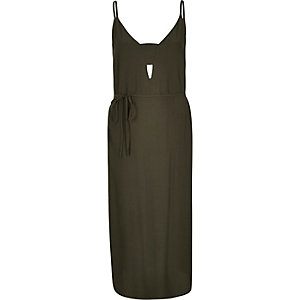 Khaki slip midi dress