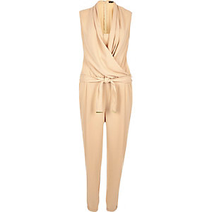 Beige draped front jumpsuit