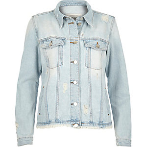 Light blue wash frayed hem denim jacket