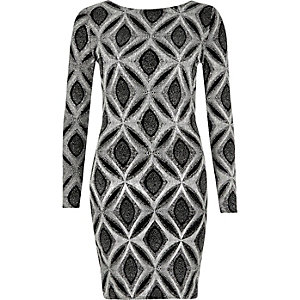 Silver sparkly metallic bodycon dress