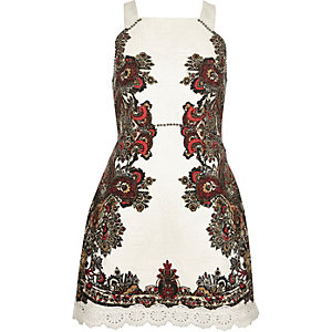 Cream jacquard print dress