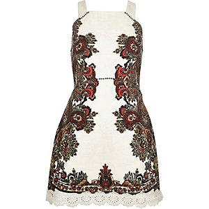 Cream jacquard print dress