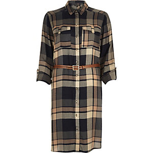 Camel check belted shirt dress