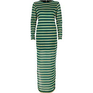 Green metallic stripe maxi dress