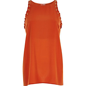 Dark orange eyelet side tank top