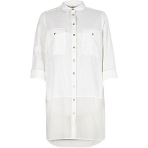 White chambray longline shirt