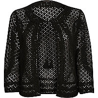 Black lace cornelli trim bolero jacket