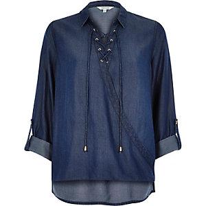 Blue denim lace-up wrap blouse