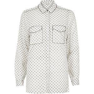 Cream printed embellished shirt