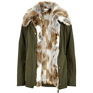 Khaki faux fur 2 in 1 jacket