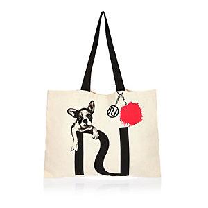 Beige bulldog puppy shopper tote bag