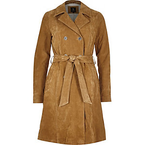 Tan premium suede belted trench coat