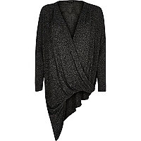 Black knitted wrap front asymmetric top