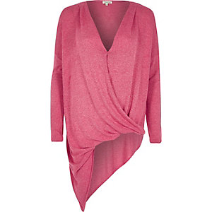 Bright pink knitted asymmetric top