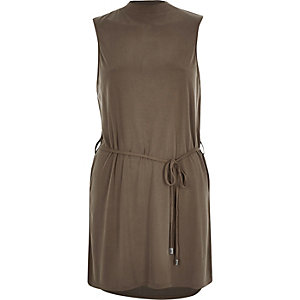 Khaki waisted tabard top