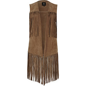 Light brown suede fringe gilet