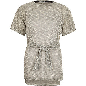 Grey neppy belted tunic top
