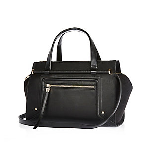 Black bar front bowler handbag