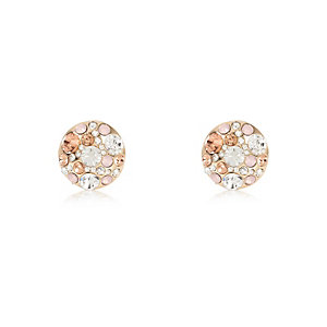 Gold tone cluster embellished stud earrings