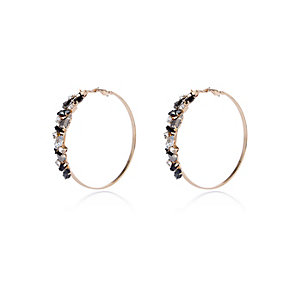 Gold tone gem embellished hoop earrings