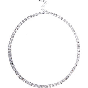 Silver tone embellished necklace