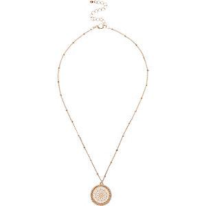 Gold tone filigree pendant necklace