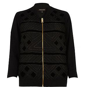 Black cornelli trim bomber jacket