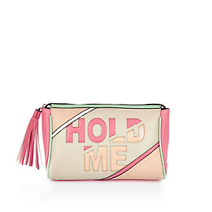 Light pink hold me slogan wash bag