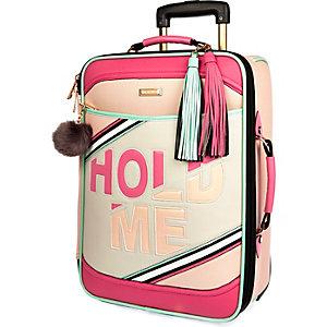 Light pink slogan suitcase