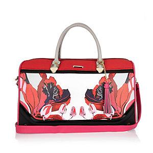 Red floral print weekend bag