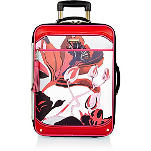 Red floral print suitcase