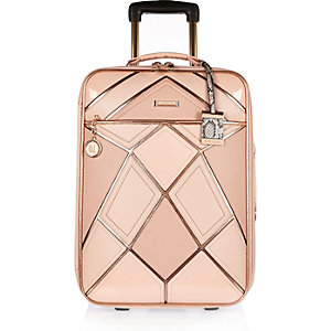 Pink patchwork suitcase