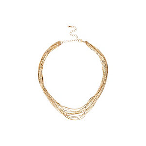 Gold tone short layer necklace