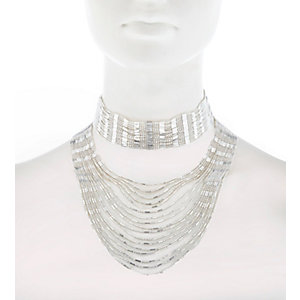 Silver tone draped choker necklace