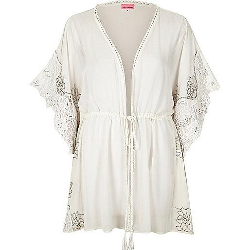 White embellished sheer kimono