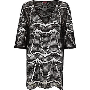 Black lace cover-up tunic