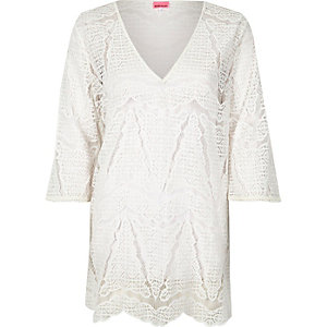 White lace cover-up tunic