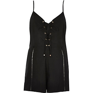 Black eyelet lace-up front romper