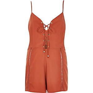Rust brown eyelet lace-up front romper