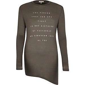 Grey foil print asymmetric top