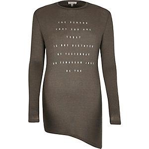 Grey foil print asymmetric top