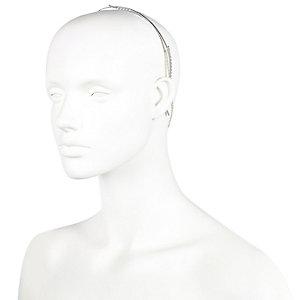 Silver tone gem encrusted hair crown