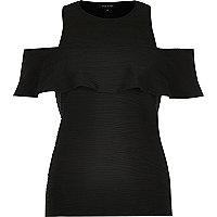 Black textured cold shoulder top